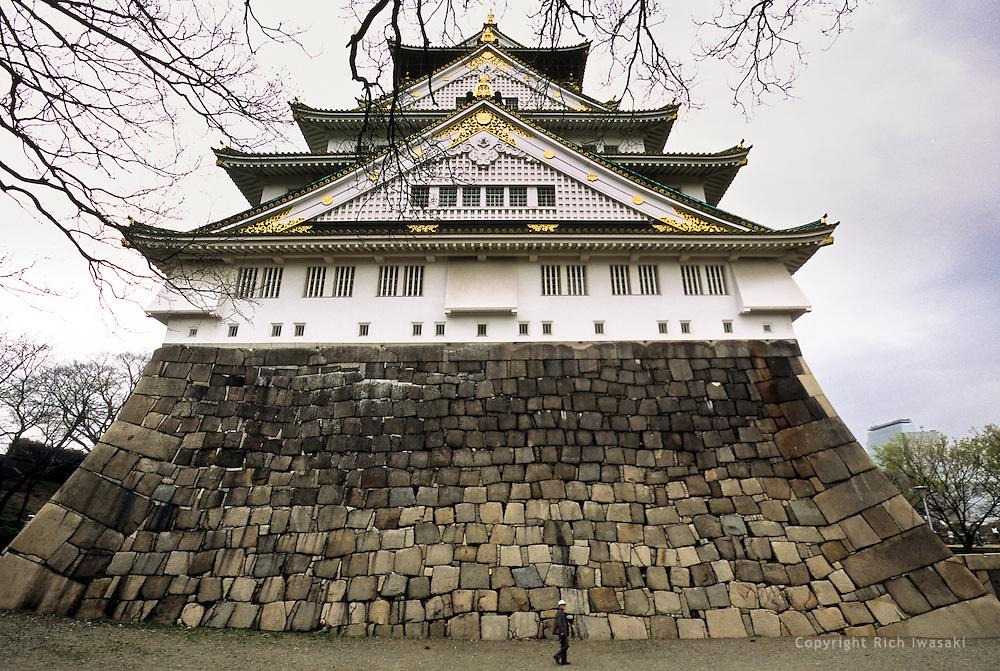 Exterior view of Osaka castle in Osaka Castle Park, Osaka city, Osaka Prefecture, Japan