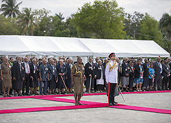 AU_1379107 - Suva, FIJI  -  The Duke lays a wreath at the Fiji War Memorial, and meet a number of Fijian war veterans, some of whom served with the British<br />