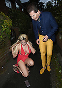 EXCLUSIVE<br /> Ex on the beach star Laura Summers pictured on her way out with Human doll Rodrigo Alves , Laura revealing her new breast surgery and eye lid surgery as she is die to hit our TV screens once again with another new look, Laura pictured on her way out   for her birthday celebrations, looking more like fancy dress!!<br /> ©Exclusivepix Media