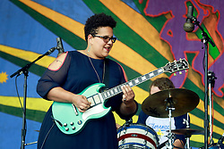 02 May 2014. New Orleans, Louisiana.<br /> Brittany Howard of the Alabama Shakes at the New Orleans Jazz and Heritage Festival. <br /> Photo; Charlie Varley/varleypix.com