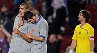 Fotball<br /> UEFA Champions League<br /> Barcelona v Basel<br /> 04.11.2008<br /> Foto: EQ Images/Digitalsport<br /> NORWAY ONLY<br /> <br /> Basels Eren derdiyok, Beg Ferati und franco Costanzo feiern das 1:1 Unentschieden