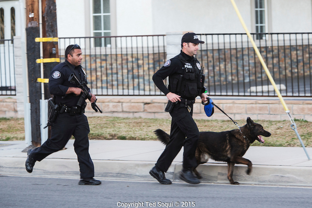 Shooting in San Bernardino.<br /> San Bernardino Police Department officers searching for more possible shooters after two shooters just engaged them to the north.