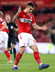 Middlesbrough's Jordan Hugill reacts after a missed chance during the Carabao Cup, Fourth Round match at the Riverside Stadium, Middlesbrough.