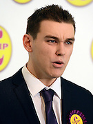 © Licensed to London News Pictures. 26/04/2012. London, UK .   Michael Heaver Chairman of UKIP's youth wing . The UK Independence Party (UKIP) local election campaign launch at St Stephen's Club, Central London. Photo credit : Stephen Simpson/LNP