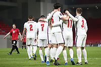 TIRANA, ALBANIA - MARCH 28: Harry Maguire and his team-mates celebrates with Mason Mount after he scores Englands second goal during the FIFA World Cup 2022 Qatar qualifying match between Albania and England at the Qemal Stafa Stadium on March 28, 2021 in Tirana, Albania. Sporting stadiums around Europe remain under strict restrictions due to the Coronavirus Pandemic as Government social distancing laws prohibit fans inside venues resulting in games being played behind closed doors (Photo by MB Media)