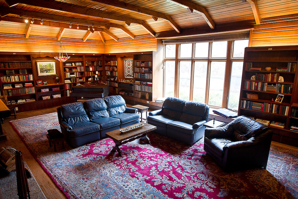 """BLUE MOUNDS—November 7, 2014: Library room of """"Little Norway""""."""