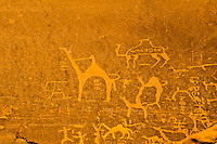 Jordan. Wadi Rum is also known as The Valley of the Moon. Ancient Petroglyphs on a rock.
