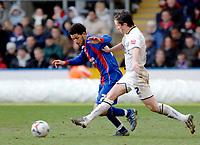 Photo: Daniel Hambury.<br />Crystal Palace v Leeds United. Coca Cola Championship. 04/03/2006.<br />Palace's Jobi McAnuff (L) and Leeds' Gary Kelly battle.