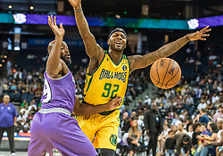 July 6, 2018 - Oakland, CA, U.S. - OAKLAND, CA - JULY 06: DeShawn Stevenson (92) co-captain of the Ball Hogs gets the ball striped by Mario West (19) of Ghost Ballers during game 2 in week three of the BIG3 3-on-3 basketball league on Friday, July 6, 2018 at the Oracle Arena in Oakland, CA (Photo by Douglas Stringer/Icon Sportswire) (Credit Image: © Douglas Stringer/Icon SMI via ZUMA Press)