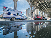 West Harlem viaduct locates at 12th Avenue and West 125th Street in Harlem, Manhattan, New York City.