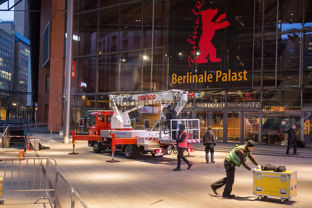 Berlin, Germany - 04.02.2019<br /> <br /> Construction work of the Berlinale Palace for the international Berlin Film Festival.<br /> <br /> Aufbauarbeiten am Berlinale-Palast fuer das internationale Berliner Filmfestival.<br /> <br /> Photo: Bjoern Kietzmann