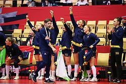 HERNING, DENMARK - DECEMBER 3, 2020: Swedish celebration during the EHF Euro 2020 Group C match between Sweden and Czech Republic in Jyske Bank Boxen, Herning, Denmark on December 3 2020. Photo Credit: Allan Jensen/EVENTMEDIA.