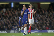 Pedro of Chelsea reacts and rubs his chin.<br /> Premier league match, Chelsea v Stoke city at Stamford Bridge in London on Saturday 30th December 2017.<br /> pic by Kieran Clarke, Andrew Orchard sports photography.