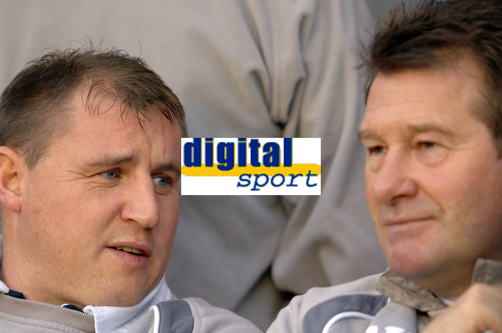 Photo: Paul Greenwood.<br />Wigan Athletic v Sheffield United. The Barclays Premiership. 16/12/2006. Wigan manager Paul Jewell, left chats with assistant coach Chris Hutchings during the game