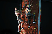 NO FEE PICTURES<br /> 22/1/15 Models Haley and Seth, pictured on the climbing wall at East Coast Adventure, are going global in advance of the annual Holiday World Show Dublin opening this Friday 23rd January, the show continues until Sunday 25th in the RDS Simmonscourt.<br />  For more information visit: www.holidayworldshow.com<br />  Picture:Arthur Carron