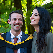26.08.2016          <br /> Olympian Thomas Barr will today be awarded a Masters of Science in Sports Performance from the University of Limerick during a conferring ceremony.  <br />  Thomas Barr shares a laugh with his sister and fellow Olympian Jessie Barr after the conferring ceremony. Picture: Alan Place