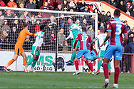 The Plymouth Argyll defence clear the ball and prevent an equaliser during the EFL Sky Bet League 1 match between Scunthorpe United and Plymouth Argyle at Glanford Park, Scunthorpe, England on 27 October 2018. Pic Mick Atkins