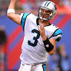 Quarterback Matt Moore #3 of the Carolina Panthers passes the ball during second half NFL action in the New York Giants' 31-18 victory over the Carolina Panthers at New Meadowlands Stadium in East Rutherford, New Jersey.