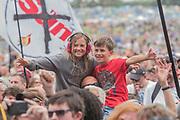 The crowd waits for Kris Kristofferson  at the Pyuramid Stage - The 2017 Glastonbury Festival, Worthy Farm. Glastonbury, 23 June 2017
