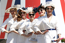 The Tootsie Rollers poses for photographs on three of Royal Ascot at Ascot Racecourse.