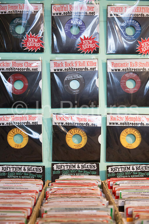 Vinyl on sale at Sounds That Swing record shop on the 27th March 2018 in Camden Town, North London in the United Kingdom.
