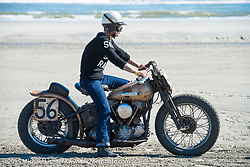 Jen Sheets on her 1947 Harley-Davidson Knucklehead racer at the Race of Gentlemen. Wildwood, NJ, USA. October 11, 2015.  Photography ©2015 Michael Lichter.