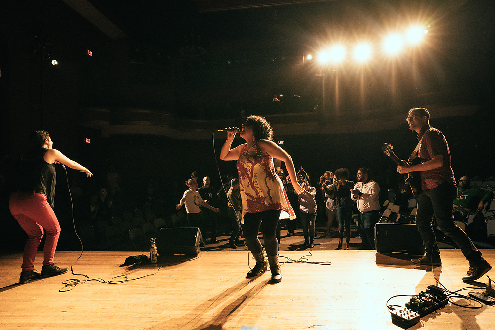 POUGHKEEPSIE, NY - APRIL 21: Artists and poets perform at PoughETRY Fest 2018 at Cunneen-Hackett Theater on April 21, 2018 in Poughkeepsie, New York. (PHOTO CREDIT: EricMTownsend.com)