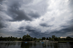 © Licensed to London News Pictures. 09/07/2021. Grey clouds hang over the serpentine boating lake in Hyde Park, central London. Wet and warm conditions are expected over the weekend. Photo credit: Ben Cawthra/LNP