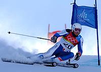 Photo: Catrine Gapper.<br />Winter Olympics, Turin 2006. Alpine Skiing Mens Giant Slalom. 20/02/2006. Joel Chenal wins Silver Medal in the Men s Giant Slalom.