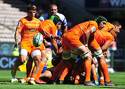 Cape Town-180217 Nicolas Sanchez of Jaguares kicks a ball fromt the scrym in a game against Stomers when playing  the Super 15 at Newlands .photograph:Phando Jikelo/African News Agency/ANA