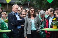 """20 SEP 2013, BERLIN/GERMANY:<br /> Juergen Trittin (L), B90/Gruene, Spitzenkandidat, und Katrin Goering-Eckardt (R), B90/Gruene, Spitzenkandidatin, waehrend einer Wahlkampfveranstaltung """"Wahlkampfhoehepunkt"""", Wahlkampf zur Bundestagswahl 2013, RAW Tempel, Revaler Straße 99, Berlin-Friedrichshain <br /> IMAGE: 20130920-02-007<br /> KEYWORDS: Wahlkampf, Veranstaltung, Jürgen Trittin, Katrin Göring-Eckardt"""