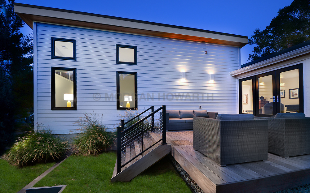 3553 Nellie Curtis Modern Home exterior Rear deck twilight VA 2-174-303