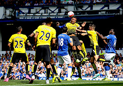Watford's Troy Deeney clears the ball away with a header  - Mandatory byline: Matt McNulty/JMP - 07966386802 - 08/08/2015 - FOOTBALL - Goodison Park -Liverpool,England - Everton v Watford - Barclays Premier League