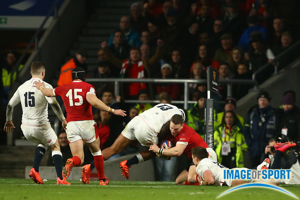 Manu Tuilagi of England with a dangerous tackle resulting in a red card  during the Guinness Six Nations between England and Wales at Twickenham Stadium, Saturday, March 7, 2020, in London, United Kingdom. (Mitchell Gunn-ESPA-Images/Image of Sport)