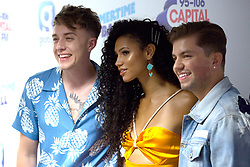 Roman Kemp, Vick Hope and Sonny Jay (left to right) on the red carpet of the the media run during Capital's Summertime Ball. The world's biggest stars perform live for 80,000 Capital listeners at Wembley Stadium at the UK's biggest summer party.