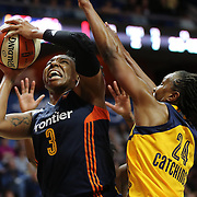UNCASVILLE, CONNECTICUT- JUNE 5:  Kelsey Bone #3 of the Connecticut Sun attempts to shoot as Tamika Catchings #24 of the Indiana Fever defends during the Indiana Fever Vs Connecticut Sun, WNBA regular season game at Mohegan Sun Arena on June 3, 2016 in Uncasville, Connecticut. (Photo by Tim Clayton/Corbis via Getty Images)