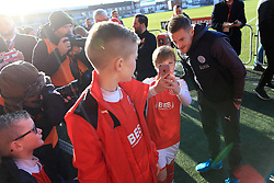 6th January 2018 - FA Cup - 3rd Round - Fleetwood Town v Leicester City - Former Fleetwood striker Jamie Vardy of Leicester poses for selfies with young fans before the match - Photo: Simon Stacpoole / Offside.