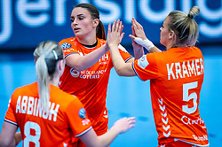 Larissa Nusser of Netherlands, Jessy Kramer of Netherlands during the Women's EHF Euro 2020 match between Netherlands and Germany at Sydbank Arena on december 14, 2020 in Kolding, Denmark (Photo by RHF Agency/Ronald Hoogendoorn)