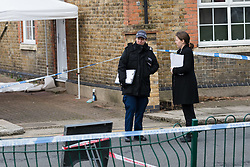 © Licensed to London News Pictures. 04/02/2018. London, UK. Police at the crime scene in Tottenham this morning. A murder investigation has been launched following the fatal stabbing of a 22 year old man yesterday. Police were called on Saturday, 3 February to St Mary's Close, N17 following reports of a stabbing. Photo credit: Vickie Flores/LNP