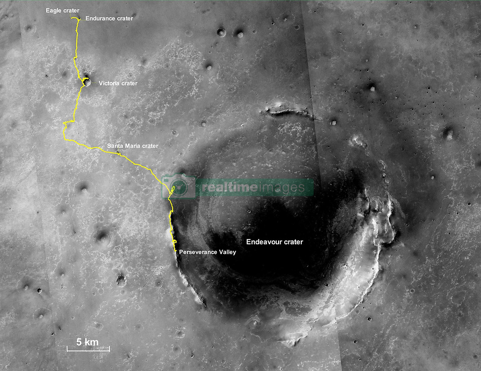 April 29, 2019 - Mars Surface - Released Today: This final traverse map for NASA's Opportunity rover shows where the rover was located within Perseverance Valley on June 10, 2018, the last date it made contact with its engineering team. Visible in this map is a yellow traverse route beginning at Opportunity's landing site, Eagle Crater, and ranging 28.06 miles (45.16 kilometers) to its final resting spot on the rim of Endeavour Crater. The rover was descending down into the crater in Perseverance Valley when the dust storm ended its mission. (Credit Image: © JPL-Caltech/NASA via ZUMA Wire/ZUMAPRESS.com)