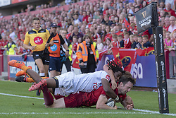September 1, 2018 - Limerick, Ireland - Darren Sweetnam of Munster tackled by Rabz Maxwane and William Small-Smith during the Guinness PRO14 rugby match between Munster Rugby and Toyota Cheetahs at Thomond Park Stadium in Limerick, Ireland on September 1, 2018  (Credit Image: © Andrew Surma/NurPhoto/ZUMA Press)