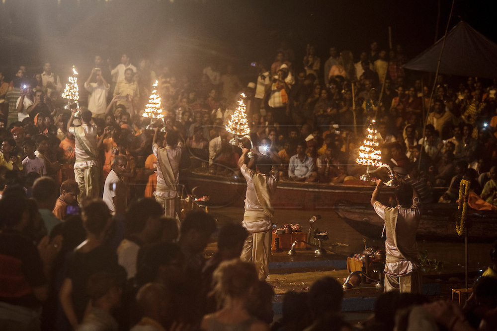Ganga aarti cerimony (river worship cerimony) at Dashashwamedh Gath by the Ganges River in Varanasi, India.