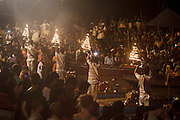 Ganga aarti cerimony (river worship cerimony) at Dashashwamedh Gath by the Ganges River in Varanasi, India.