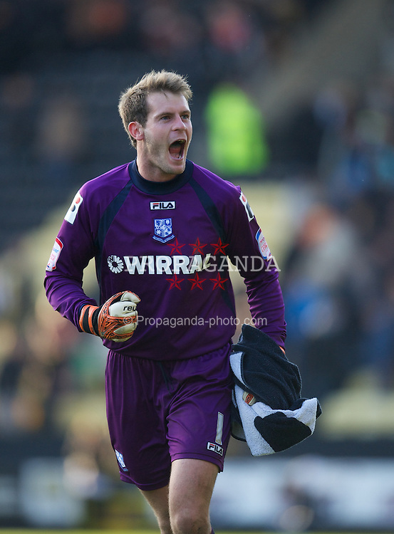 NOTTINGHAM, ENGLAND - Saturday, October 6, 2012: Tranmere Rovers' goalkeeper Owain Fon Williams celebrates at the final whistle as his side beat Notts County 1-0 to remain top of the table during the Football League One match at Meadow Lane. (Pic by David Rawcliffe/Propaganda)