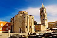 The The pre-Romanesque  Byzantine St Donat's Church & the Campinale bell tower of the St Anastasia Cathedral. Zadar, Croatia Byzantine St Donat's Church & the Campinale bell tower of the St Anastasia Cathedral. Zadar, Croatia .<br /> <br /> Visit our MEDIEVAL PHOTO COLLECTIONS for more   photos  to download or buy as prints https://funkystock.photoshelter.com/gallery-collection/Medieval-Middle-Ages-Historic-Places-Arcaeological-Sites-Pictures-Images-of/C0000B5ZA54_WD0s