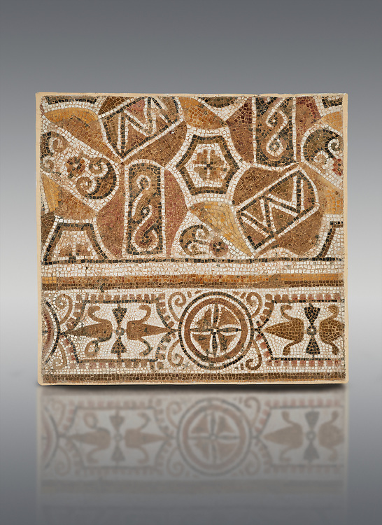 Pictures of a geometric Roman mosaic, from the ancient Roman city of Thysdrus. 3rd century AD. El Djem Archaeological Museum, El Djem, Tunisia. .<br /> <br /> If you prefer to buy from our ALAMY PHOTO LIBRARY Collection visit : https://www.alamy.com/portfolio/paul-williams-funkystock/roman-mosaic.html . Type - El Djem - into the LOWER SEARCH WITHIN GALLERY box. Refine search by adding background colour, place, museum etc<br /> <br /> Visit our ROMAN MOSAIC PHOTO COLLECTIONS for more photos to download as wall art prints https://funkystock.photoshelter.com/gallery-collection/Roman-Mosaics-Art-Pictures-Images/C0000LcfNel7FpLI
