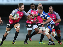 Stephan Greeff of the Pumas attempts to hand off Robert du Preez of Western Province during the Currie Cup Premier Division match between the DHL Western Province and the Pumas held at the DHL Newlands rugby stadium in Cape Town, South Africa on the 17th September  2016<br /> <br /> Photo by: Shaun Roy / RealTime Images