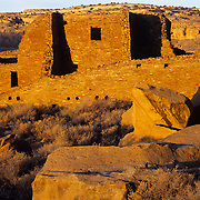 Ancient and huge Pueblo Bonito in Chaco Culture National Historic Park, NM.