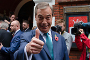 Brexit Party leader Nigel Farage gives a thumbs up on arrival at the launch of the Brexit Partys manifesto today in Central London on 1st November, 2019 in London, England,Unitied Kingdom. Britain goes to the polls on 12th December, 2019 in a rare pre-Christmas general election.