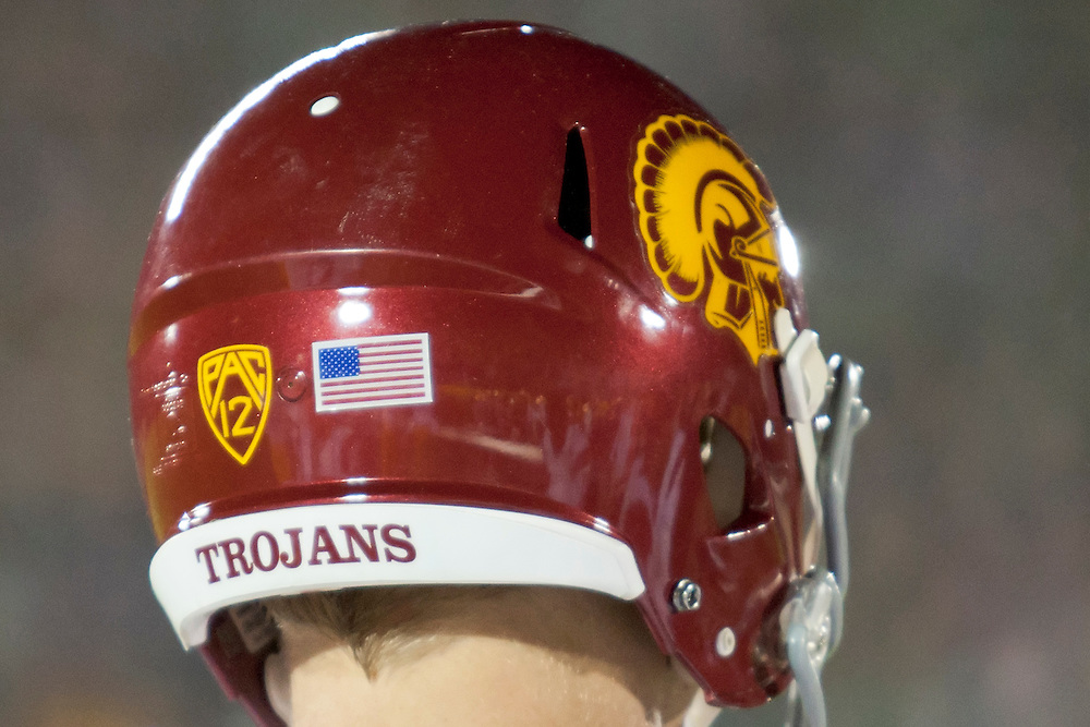 A view of the USC helmet during NCAA football game between Notre Dame and USC.  The USC Trojans defeated the Notre Dame Fighting Irish 31-17 in game at Notre Dame Stadium in South Bend, Indiana.